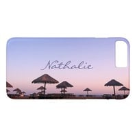California palapa beach sunset photo custom name iPhone 8 plus/7 plus case