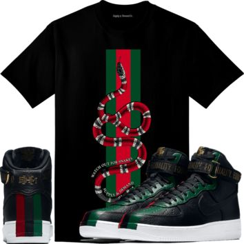 2018 BHM - Air Force Ones 1 Sneaker Tees Shirt - WATCH OUT SNAKES