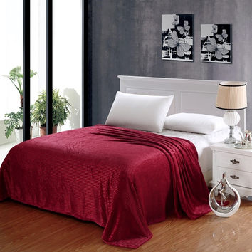 Popular Home Pinstripe Collection Red King Size Ultra Plush Blanket
