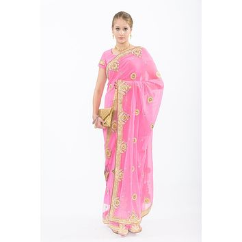 Enchanted Pink Ready-Made Pre-Pleated Sari