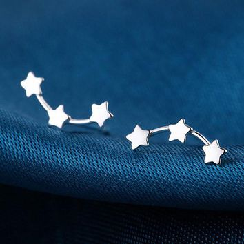 1 Pair Fashion Jewelry New Wholesale Three Star Men Teens Stud Earrings for women Cute Star earrings