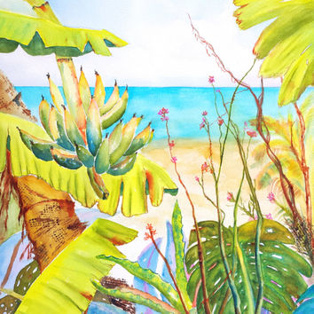 Tropical Garden, Original Watercolor, 18x24, Large Tropical Painting, Beach art,  Palm tree, Banana Tree, Tropical Plants