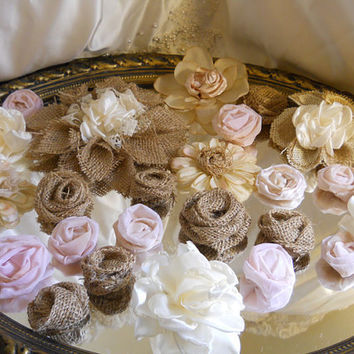 Set of 25, Burlap, Ivory and Blush Pink Flowers for weddings, bouquet making, wedding decor, scrapbooking, gifts, crafts