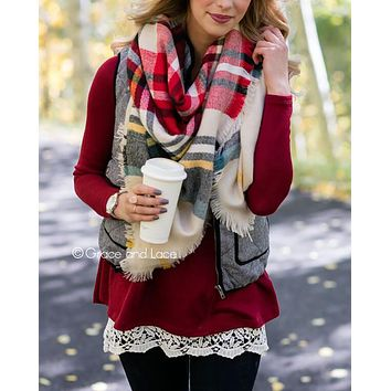 Grace & Lace Blanket Scarf/Toggle Poncho™ (Red & Sage Plaid)