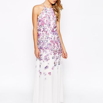 True Violet High Neck Maxi Dress In Ombre Placement Print