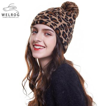 WELROG Drop Leopard Printed Ball Hats For Women Winter Warm Knitted Caps Pompoms Fur Hat Fashion Ladies Beanies