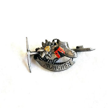 Vintage Hat Pin, German Hat Pin, Munchen Cap Pin, Climbers Pin, German Pin, Pewter Pin,  Gifts for Men, German Alpine Pin, Oktoberfest Pin