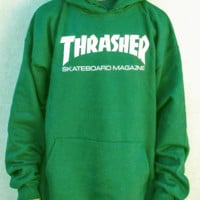 """""""Thrasher""""Men and women with the flame hooded couples sweater(white-red letters) Green"""