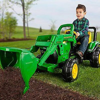 John Deere Front Loader Pedal Tractor Kids Toy Drive Ride Boys Adjustable New