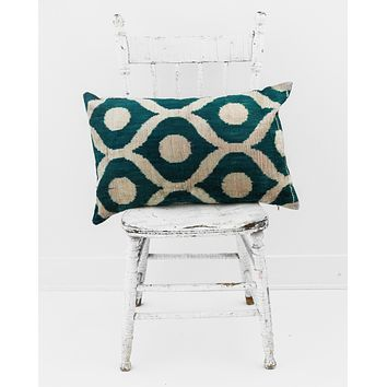 "16"" x 24"" Silk Velvet Ikat Pillow, Teal Green"