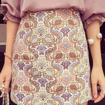 High Waist Paisley Print A-Line Mini Skirt