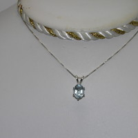 CLEARANCE SALE New Sterling Silver pendant .98ct Oval Aquamarine March birthston