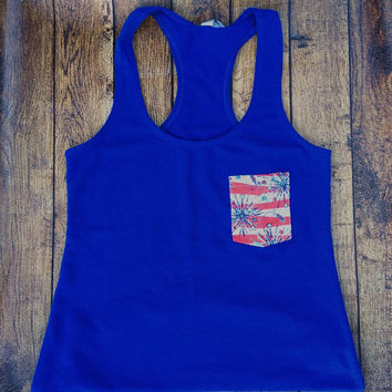 Lilly Pulitzer Inspired Shirt, 4th of July, LP Shes a Firecracker, Racerback Tank, Gifts for Her, Teal Tank, Loose Tank, Small to XXL