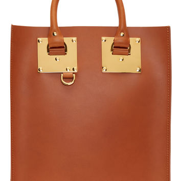 Sophie Hulme Cognac Tan Saddle Leather Mini Tote Bag
