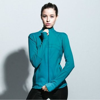 Imlario Women's Running Shirt Full Zip Sports Track Jacket with Thumb Holes Yoga Running Tops Athletic Coat Slim Fit Sweatshirt