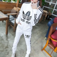 """Adidas"" Fashion Casual Stripe Clover Letter Print Long Sleeve Cardigan Set Two-Piece"