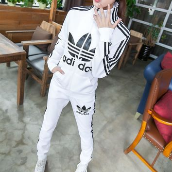 """""""Adidas"""" Fashion Casual Stripe Clover Letter Print Long Sleeve Cardigan Set Two-Piece"""