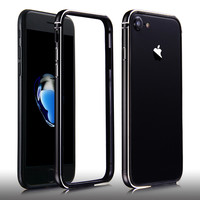 For Apple iPhone 7 Bumper Ultra Thin Aluminum Metal Frame Coque + Slim Soft Silicon Side Protector Case Cover For iPhone7 7 Plus
