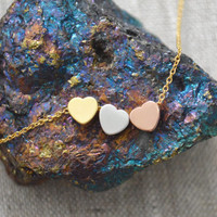 A-207 Triple hearts necklace, Gold, White gold and rose gold hearts on gold plated chain/Everyday jewelry/