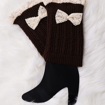 Leg Warmer Knit Boot Sock - Brown