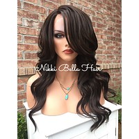"""Donna Soft Wave Brown Human Hair Blend Lace Wig 18"""""""