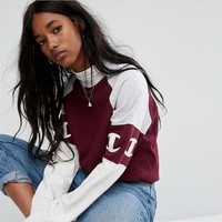 Champion Embroidery Print Burgundy Sweater Sweater