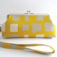 Wristlet frame clutch purse- squares on mustard yellow