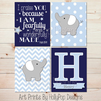 Baby boy nursery decor Nursery art prints Navy blue gray name wall art I praise you Bible verse Psalm 139 Baby elephant nursery art #1372