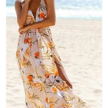 Summer Breeze Floral Sleeveless Spaghetti Strap Plunge V Neck X Back High Slit Casual Maxi Dress - 2 Colors Available