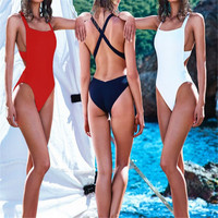 Sexy Women Solid One Piece Swimsuit Backless Bandeau Monokini Swimming cute swimwear