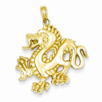 14k Yellow Gold Solid Polished Dragon Pendant