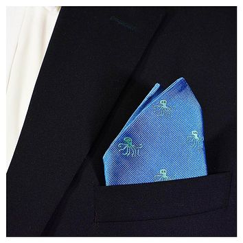 Octopus Pocket Square - Woven, Blue
