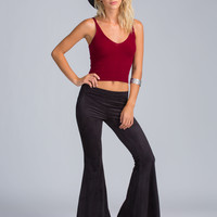 Flare Flair Faux Suede Bell-Bottoms