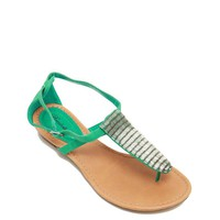 Turquoise Beaded T Strap Sandals