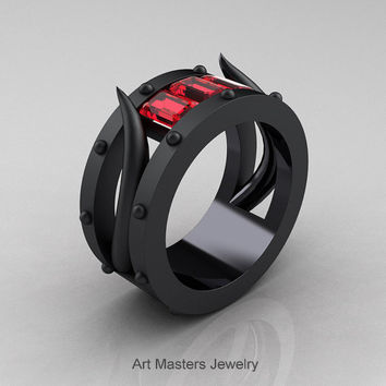 Harald Hardrada - Mens 14K Matte Black Gold Fire Ruby Channel Cluster Wedding Band R417M-14KMBGFR