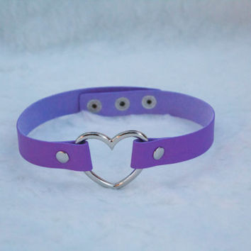 Heart Choker / Necklace - Purple Choker (Pastel Goth, Kitten Play, Alternative)