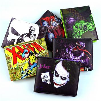 New DC drift series wallet punisher. Death. An Wolf. Hulk. Iron man. Venom. Flash. Thor. Clown. A lot of cartoon wallet