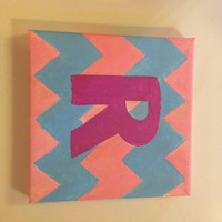 8X8 acrylic monogram chevron painting