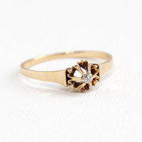 Antique 14k Rosy Yellow Gold Old Mine Cut Diamond Ring - Vintage Size 6 Early 1900s Edwardian Raised Belcher Solitaire Fine Jewelry