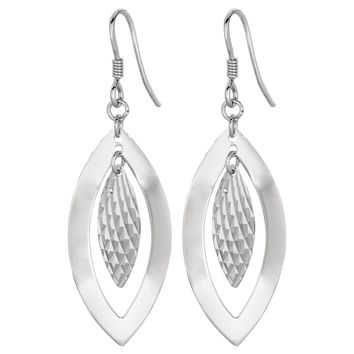 Silver with Rhodium Finish Textured Small Close Leaf Dangle Earring