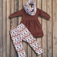 3-Pc Brown Tribal Turkey Outfit