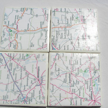 4 Tile Coasters in Road Map Theme
