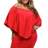 Plus Size Multiple Dressing Layered Red Mini Dress