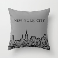 Manhattan Skyline NY Grey, Pillow Cover,16x16,18x18,20x20,home decor,black,modern,Urban Decor,New York City,Accent Pillow,Decorative Pillow