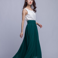 High Waist Long Skirt Chiffon Maxi Skirts Beautiful Pleated Waist Summer Skirt Floor Length Women Skirt (401) ,77#