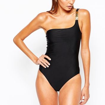 Moschino One Shoulder Swimsuit