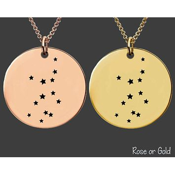Virgo Constellation Necklace | Rose Gold or Gold Zodiac Necklace