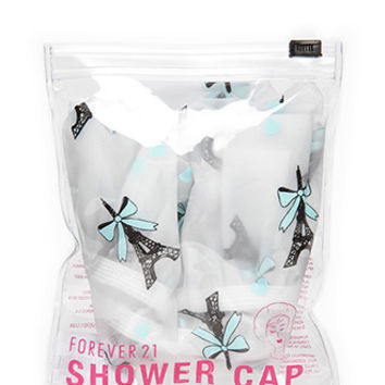 FOREVER 21 Paris Print Shower Cap White/Blue One