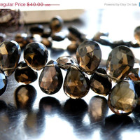 35% Off Sale Smoky Quartz Gemstone Briolette AAA Faceted Pear Teardrop 10mm 55 beads Full strand