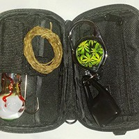 Smell Proof Smoker's Stash Kit Bundle for Herbs, Incense or Tobacco, Sturdy Compact Portable Black Storage Travel Bag with 420 Accessories: Eyeball Burner, Zip Cord Leash, Hemp Wick, Cleaner Tool